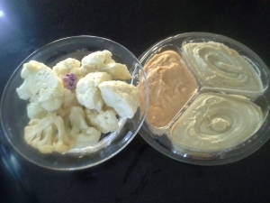 Raw cauliflower with hummus ( made from chickpeas ) makes a great afternoon snack!
